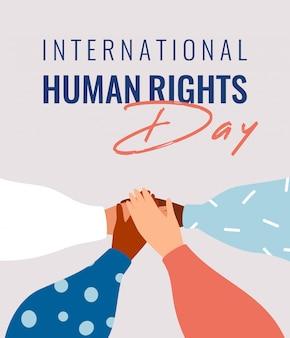Vier menselijke handen ondersteunen elkaar op de internationale mensenrechten-dagkaart