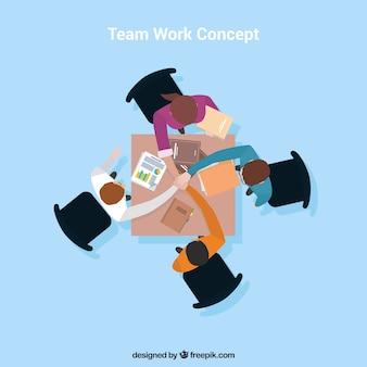 Vier mensen, teamwork