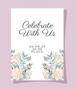 Vier met ons met bloemen en bladeren van de huwelijksuitnodiging