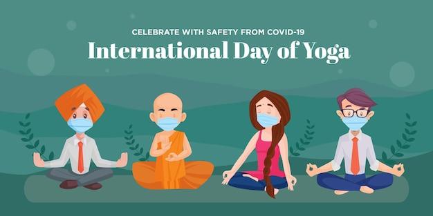 Vier met veiligheid van covid 19 internationale dag van yoga banner ontwerpsjabloon