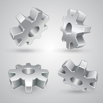 Vier metalen tandwielen geïsoleerd 3d
