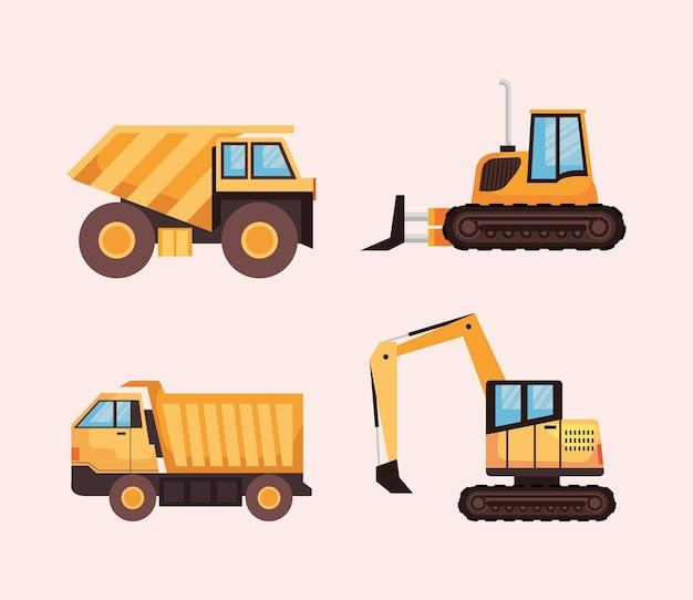 Vier mijnvoertuigen
