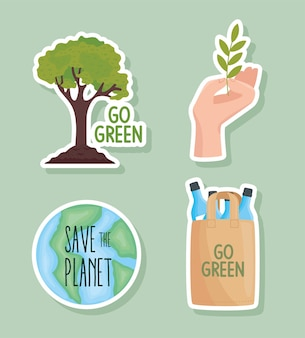 Vier milieuvriendelijke pictogrammen