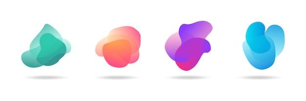 Vier moderne vloeibare amoebe blob vorm abstracte elementen grafische vlakke stijl ontwerp vloeistof vectorillustratie instellen banner eenvoudige vorm sjabloon voor presentatie, flyer, geïsoleerd op witte achtergrond