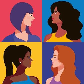 Vier mooie meisjespersonages