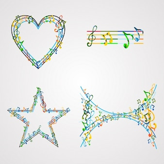 Vier mooie vormen met muzieknoten