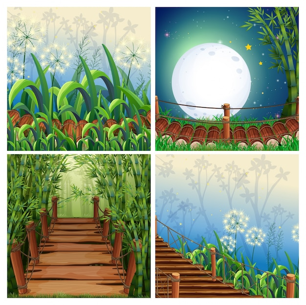 Vier natuurscènes met houten brug