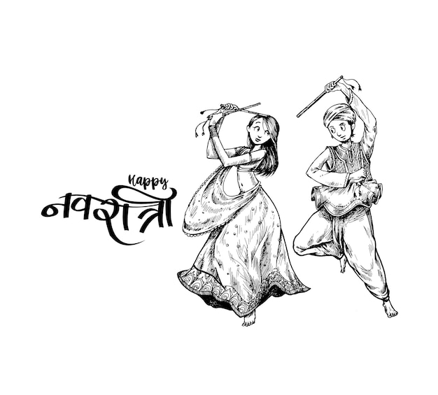 Vier navratri festival met dansende garba mannen & vrouw ontwerp vector, hand getrokken vectorillustratie.