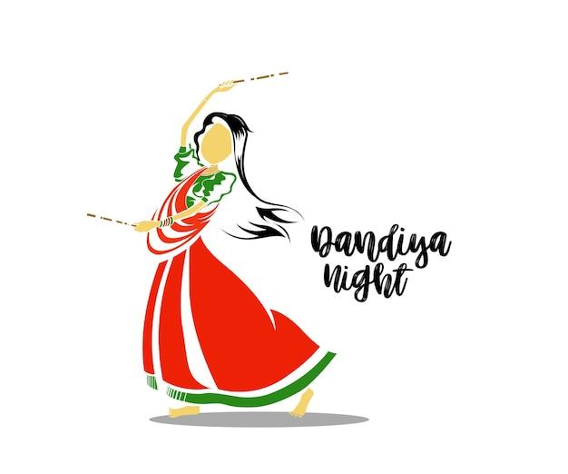 Vier navratri-festival met dansende garba-ontwerpvector, handgetekende vectorillustratie.