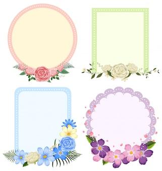 Vier ontwerpen van bloemkaders in verschillende vormen
