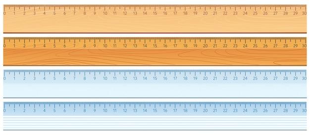 Vier ontwerpen van linialen