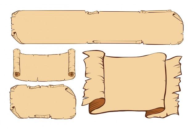 Vier ontwerpen van oud papier
