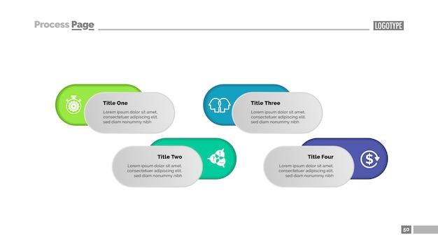 Vier opties oplossing proces grafieksjabloon voor presentatie. bedrijfsgegevens.