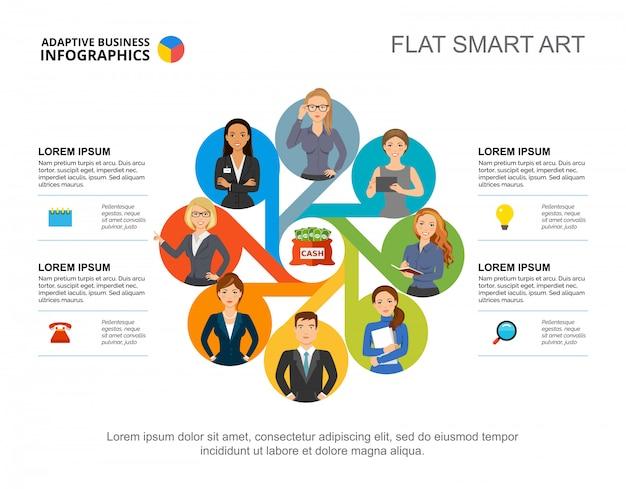 Vier opties teamwork process grafieksjabloon voor presentatie. bedrijfsgegevens.