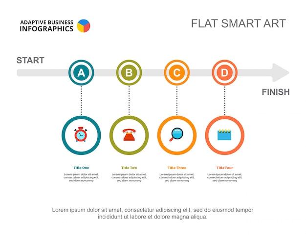 Vier opties verwerken grafiek. bedrijfsgegevens. workflow, opstarten, ontwerp.