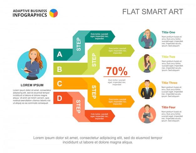 Vier opties voortgangspercentage grafieksjabloon voor presentatie. bedrijfsgegevens.
