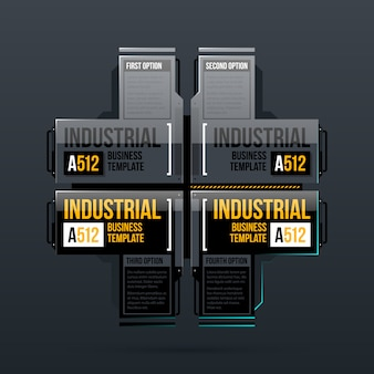 Vier optiesjabloon in industriële stijl