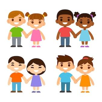 Vier paar schattige tekenfilmjongens en -meisjes hand in hand kaukasisch zwart en aziatisch