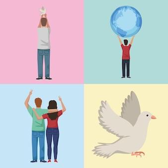 Vier pacifistische karakters