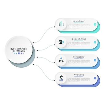 Vier papieren witte afgeronde elementen, opties of kenmerken die door lijnen met de hoofdcirkel zijn verbonden. moderne infographic ontwerplay-out. vectorillustratie voor bedrijfspresentatie, brochure, rapport.