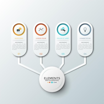 Vier papieren witte elementen met platte pictogrammen en plaats voor beschrijving binnen verbonden met de hoofdcirkel. concept diagram met 4 aantalopties. infographic ontwerpsjabloon.