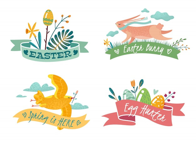 Vier pasen emblemen met de afbeelding van een konijn