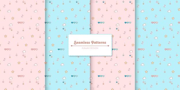 Vier pastel kleuren baby shower naadloze patronen