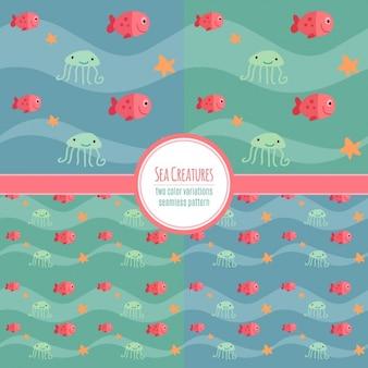 Vier patronen met oceaan dieren