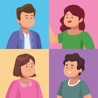 Vier personen groep