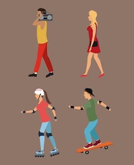 Vier personen lopen rolschaatsen muziek