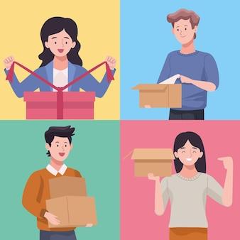 Vier personen uitpakken