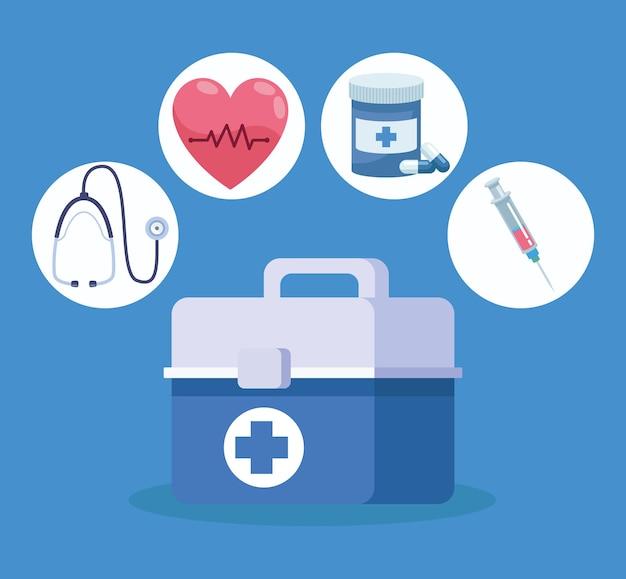 Vier pictogrammen voor medische zorg