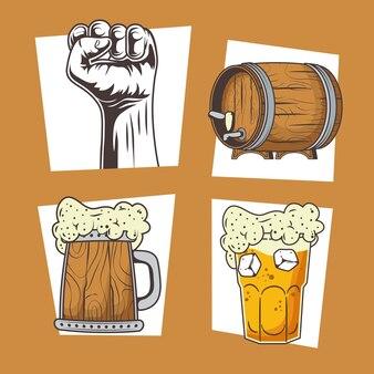 Vier pictogrammen voor oktoberfest-vieringen