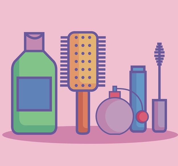 Vier pictogrammen voor schoonheidsproducten