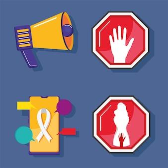 Vier pictogrammen voor seksuele intimidatie