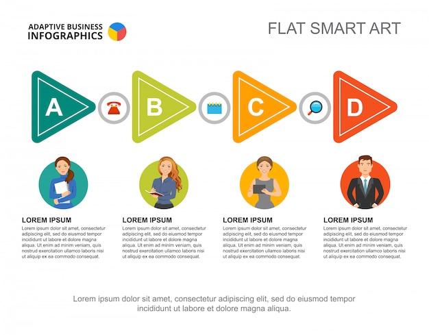 Vier pijlen grafieksjabloon voor presentatie