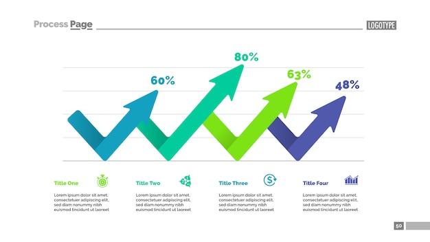 Vier pijlen percentage grafieksjabloon. bedrijfsgegevens. abstracte elementen van diagram