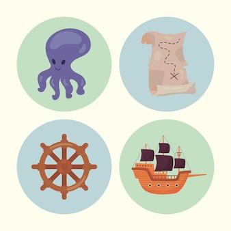 Vier piratenpictogrammen