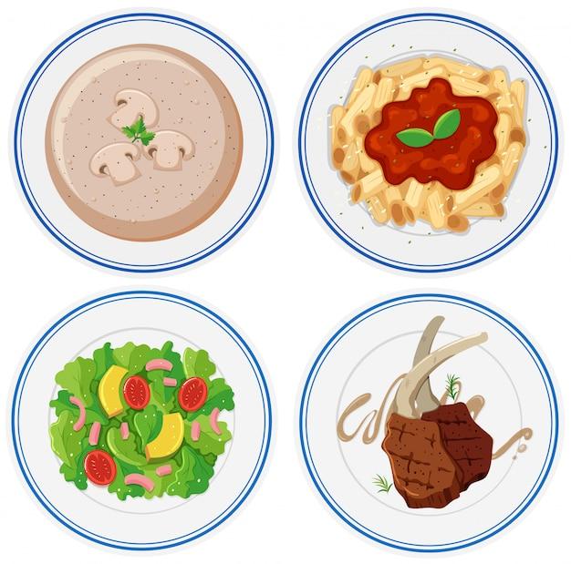 Vier platen van verschillend voedsel