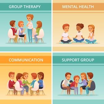 Vier pleinen cartoon groepstherapie pictogrammenset met geestelijke gezondheid communicatie en ondersteuning groep beschrijvingen