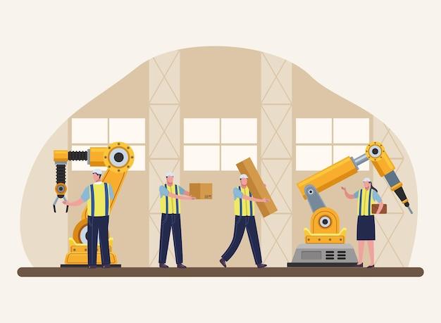 Vier productiearbeiders scene