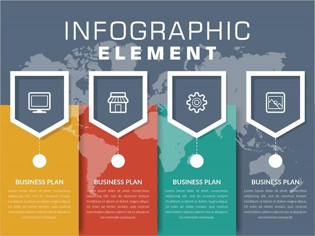 Vier punt infographic element bedrijfsstrategie met pictogrammen