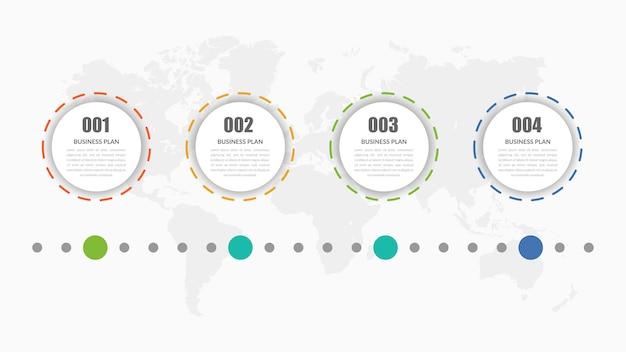 Vier punt infographic element bedrijfsstrategie