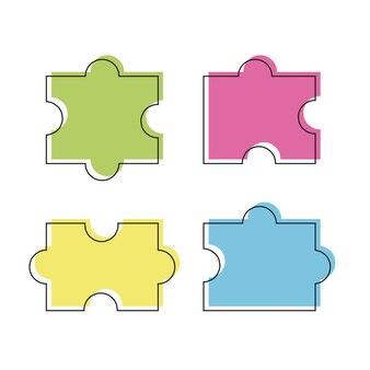 Vier puzzel gekleurde stukjes vectorillustratie, geïsoleerd op een witte achtergrond - lijnstijl