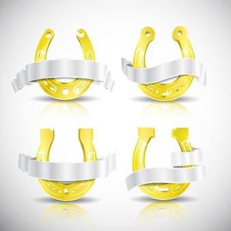 Vier realistische gouden hoefijzers met schaduwen en zilveren linten