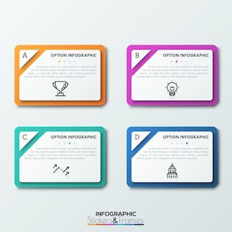 Vier rechthoeken met gescheiden hoeken, letters, tekstvakken, dunne lijnpictogrammen en indicatie sterbeoordeling. kwaliteit evaluatie concept.