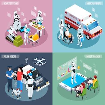 Vier robot isometrische beroepen icon set thuisassistent medische en politie robots en leraar beschrijvingen