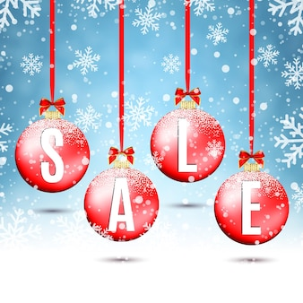 Vier rode kerstballen met linten en strikken, op winterachtergrond met sneeuw en sneeuwvlokken. verkoop poster sjabloon. vector illustratie.