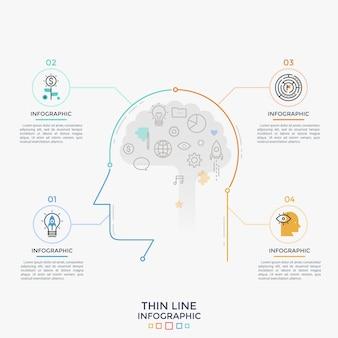 Vier ronde elementen met dunne lijnpictogrammen aan de binnenkant en tekstvakken die zijn verbonden met de omtrek van het menselijk hoofd. concept van 4 kenmerken van intelligentie, slim denken. infographic ontwerpsjabloon. vector illustratie
