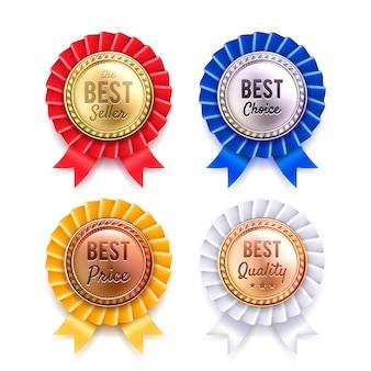Vier ronde metallic premium badges ingesteld